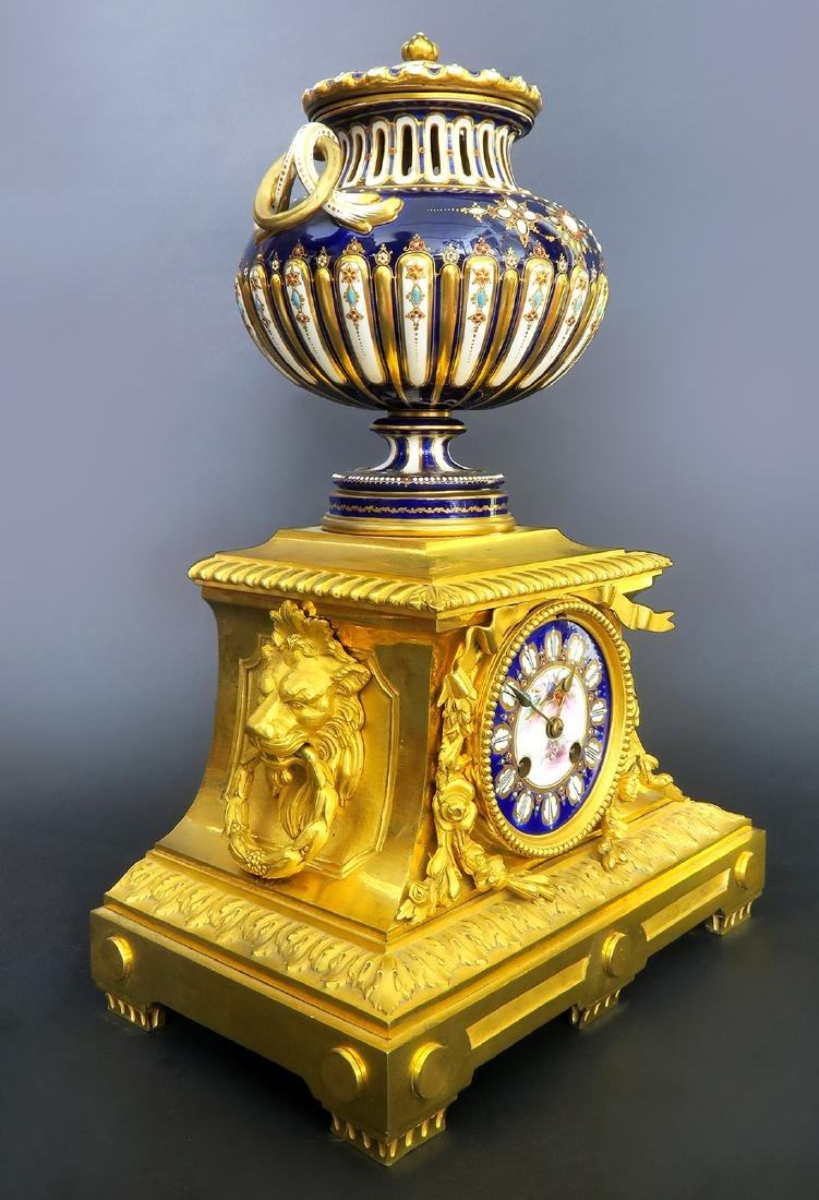 Barbedienne Gilt Bronze & Sevres Porcelain Clock Set - 3