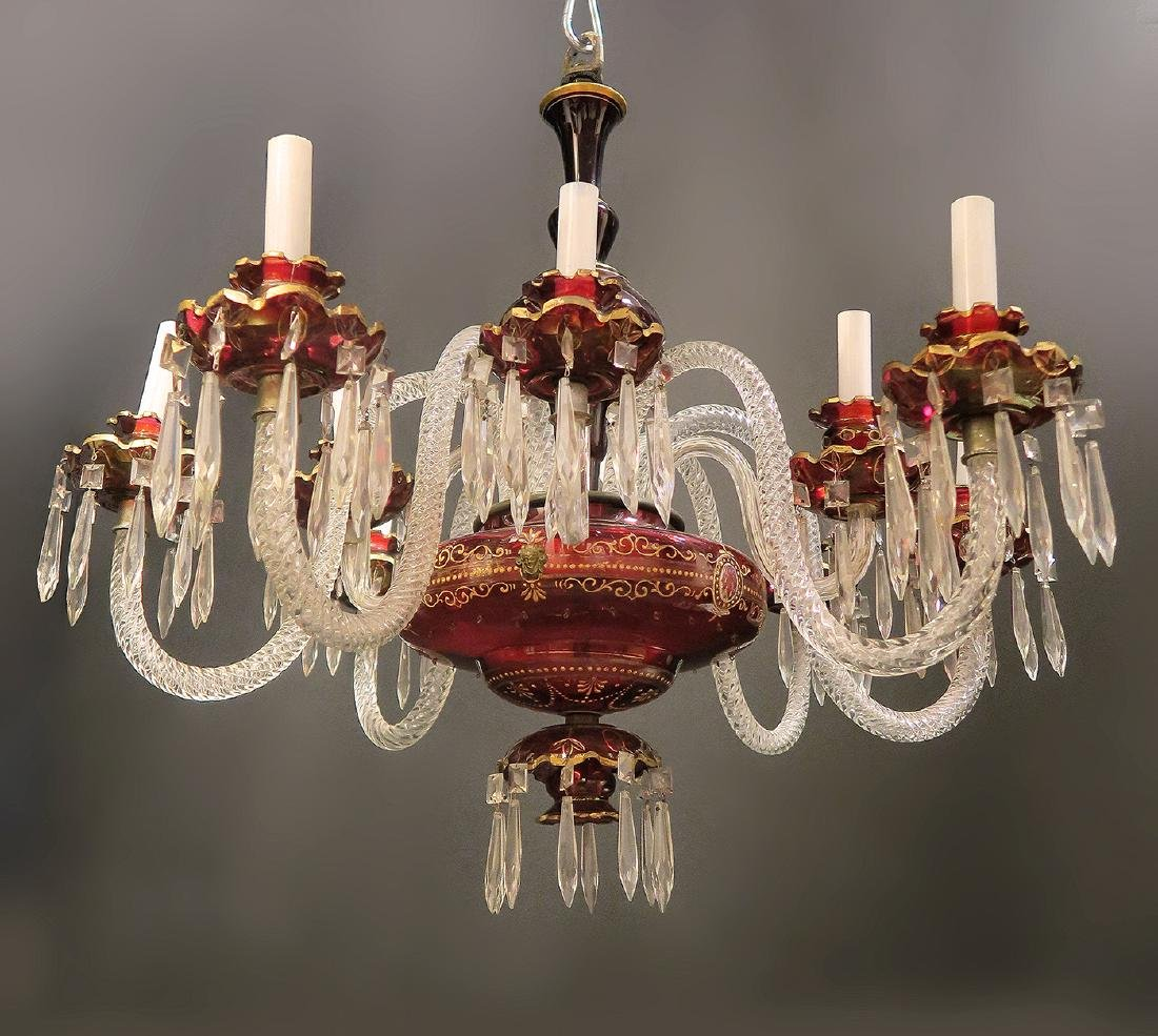 19th C. Bohemian/Baccarat 6 Branch Chandelier