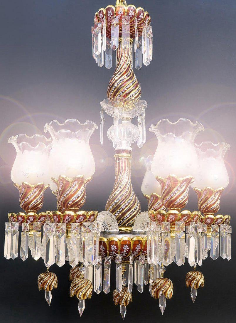 Ruby Red Baccarat Style 6 Branch Chandelier - 2