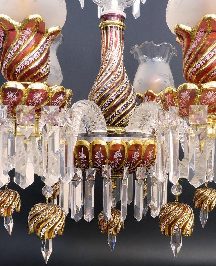 Ruby Red Baccarat Style 6 Branch Chandelier - 5