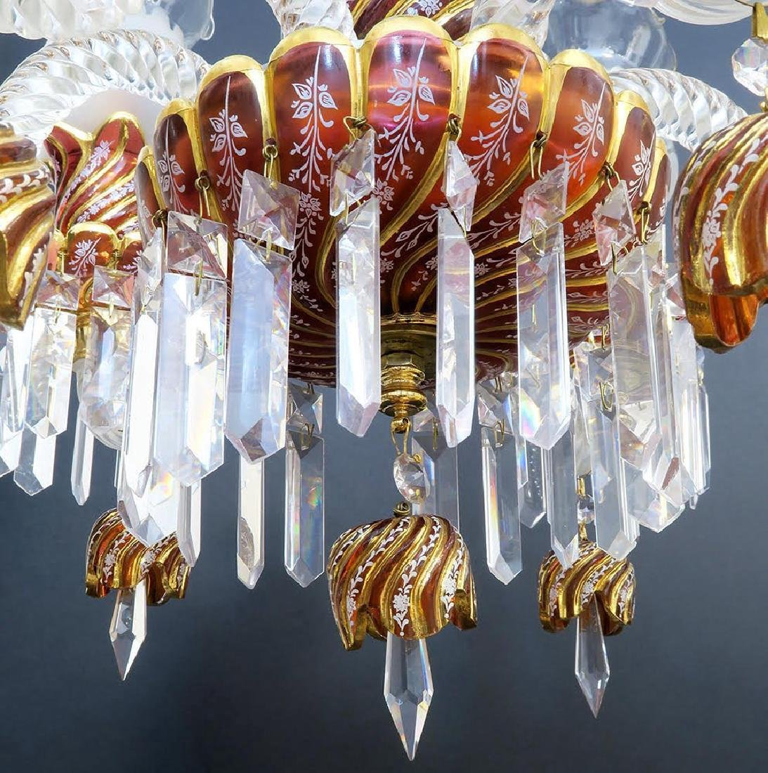 Ruby Red Baccarat Style 6 Branch Chandelier - 6