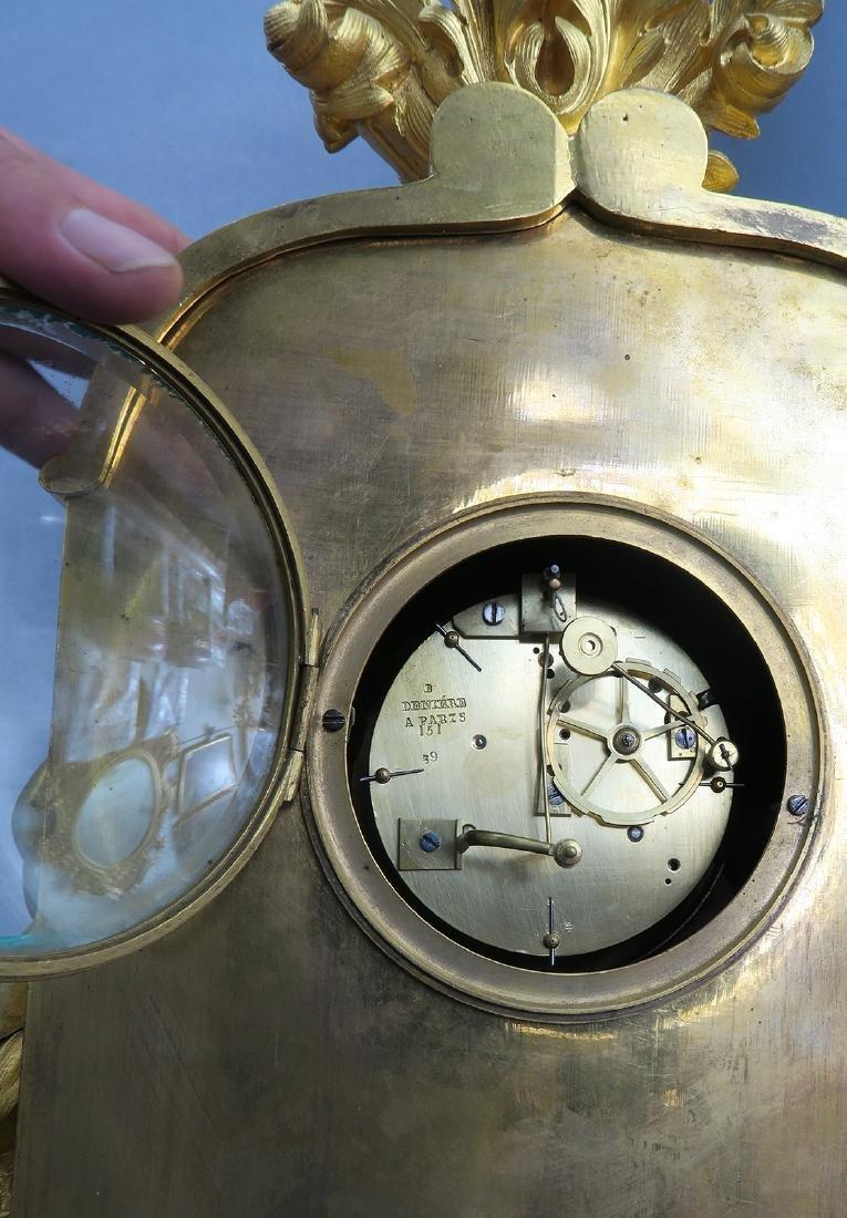 Gilt Bronze mantel French Clock Signed Deniere A Paris - 6