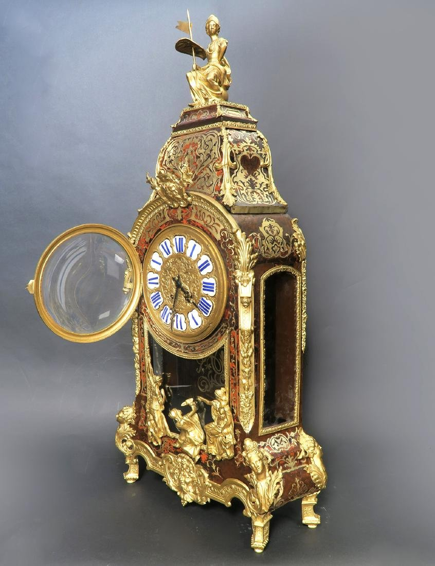 Monumental French Boulle & Figural Bronze Clock - 2