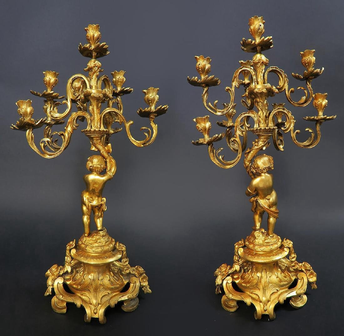 Large French Figural Bronze Clock Set. 19th C. - 8