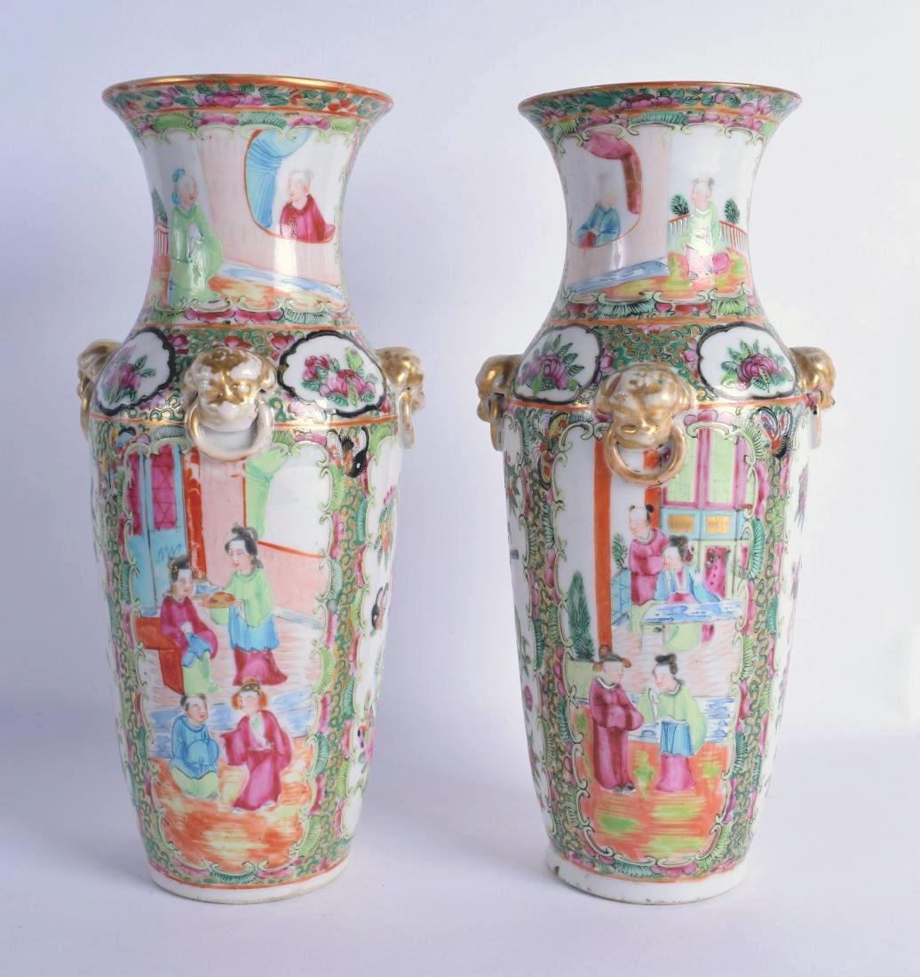 A PAIR OF 19TH CENTURY CHINESE FAMILLE ROSE CANTON - 2