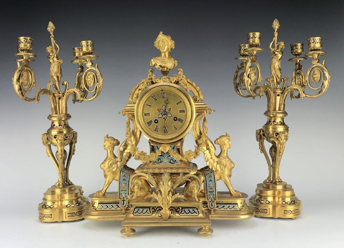 French Figural Bronze & Champleve Enamel Clock Set