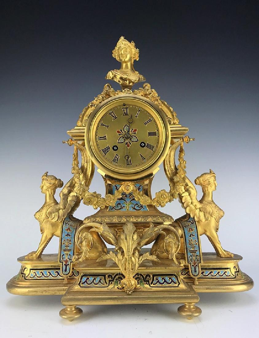 French Figural Bronze & Champleve Enamel Clock Set - 2