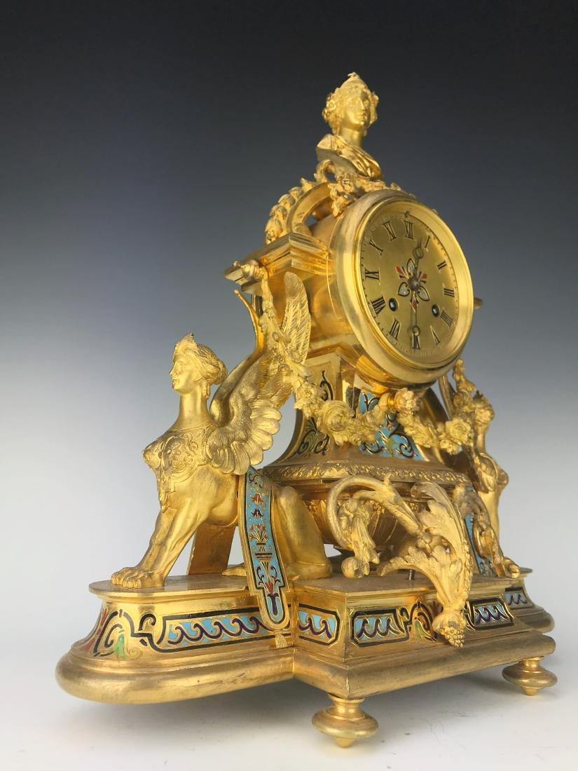 French Figural Bronze & Champleve Enamel Clock Set - 3