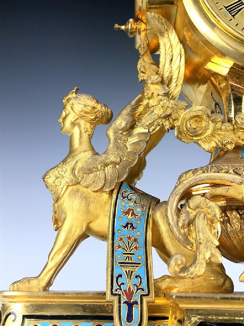 French Figural Bronze & Champleve Enamel Clock Set - 4