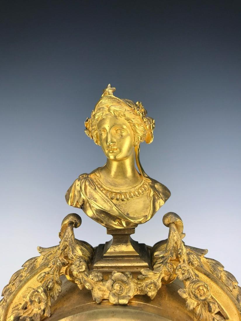 French Figural Bronze & Champleve Enamel Clock Set - 5