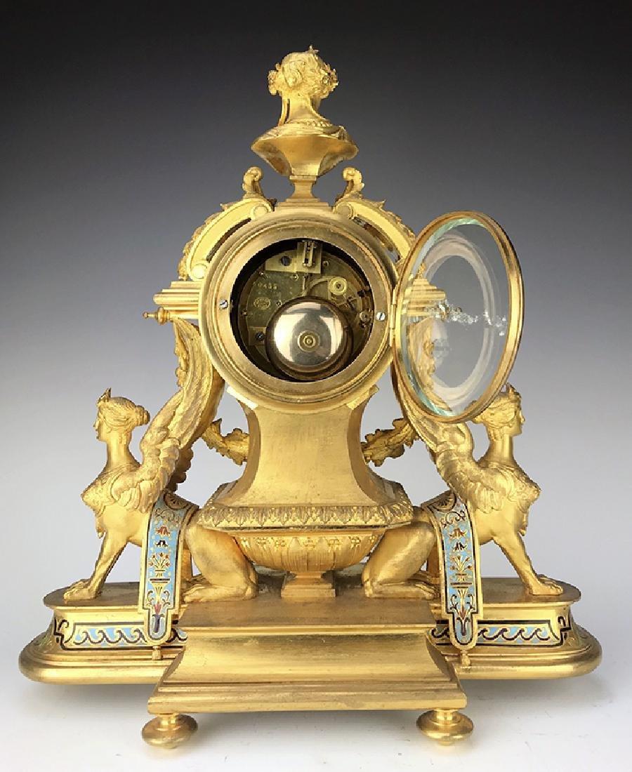 French Figural Bronze & Champleve Enamel Clock Set - 6