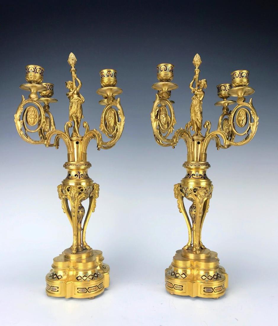 French Figural Bronze & Champleve Enamel Clock Set - 7