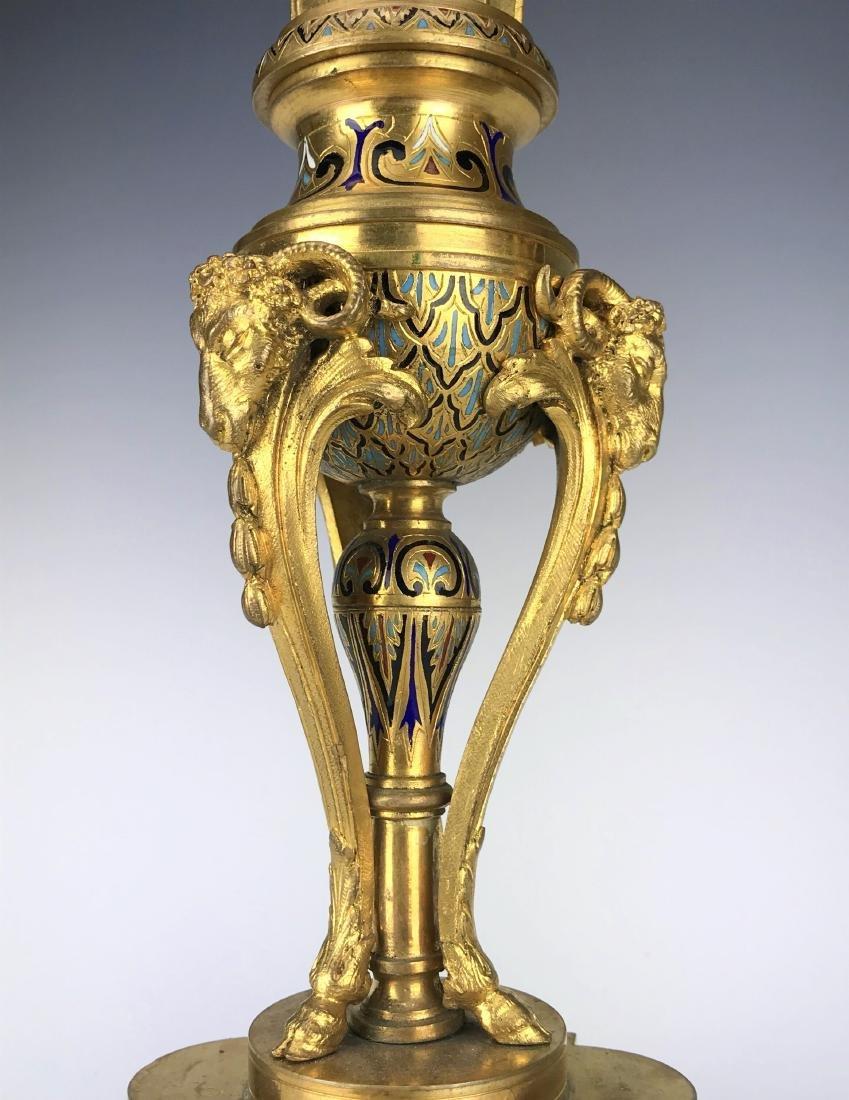 French Figural Bronze & Champleve Enamel Clock Set - 9