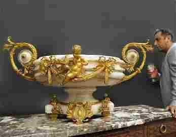 19th C. Monumental Onyx & Figural Bronze Centerpiece