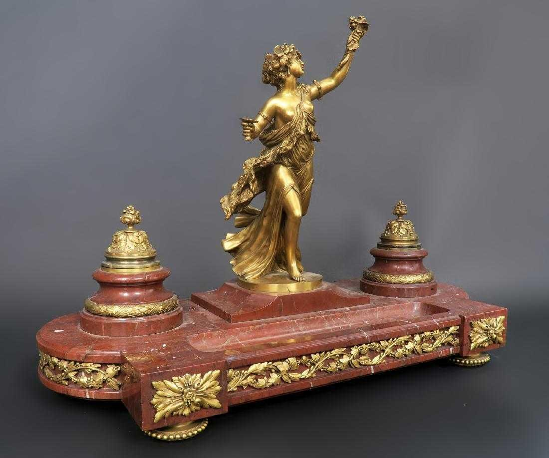 French Marble and Figural Bronze Inkwell, 19th C.