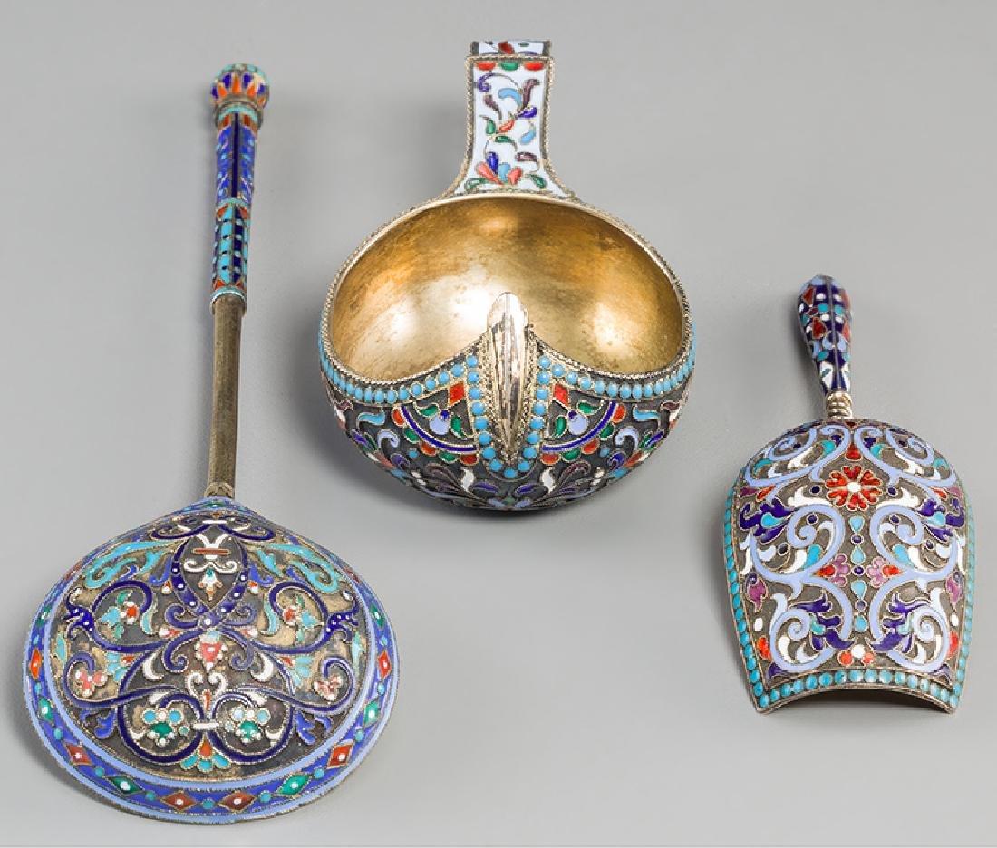 Two Russian Silver & Enamel Cups with Kovsh