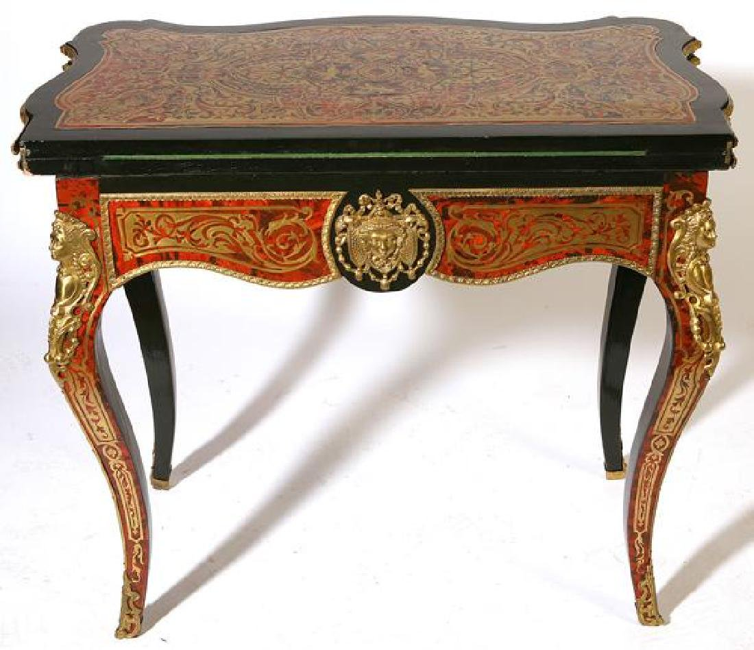Exceptional 19th C. French lacquered boulle game table