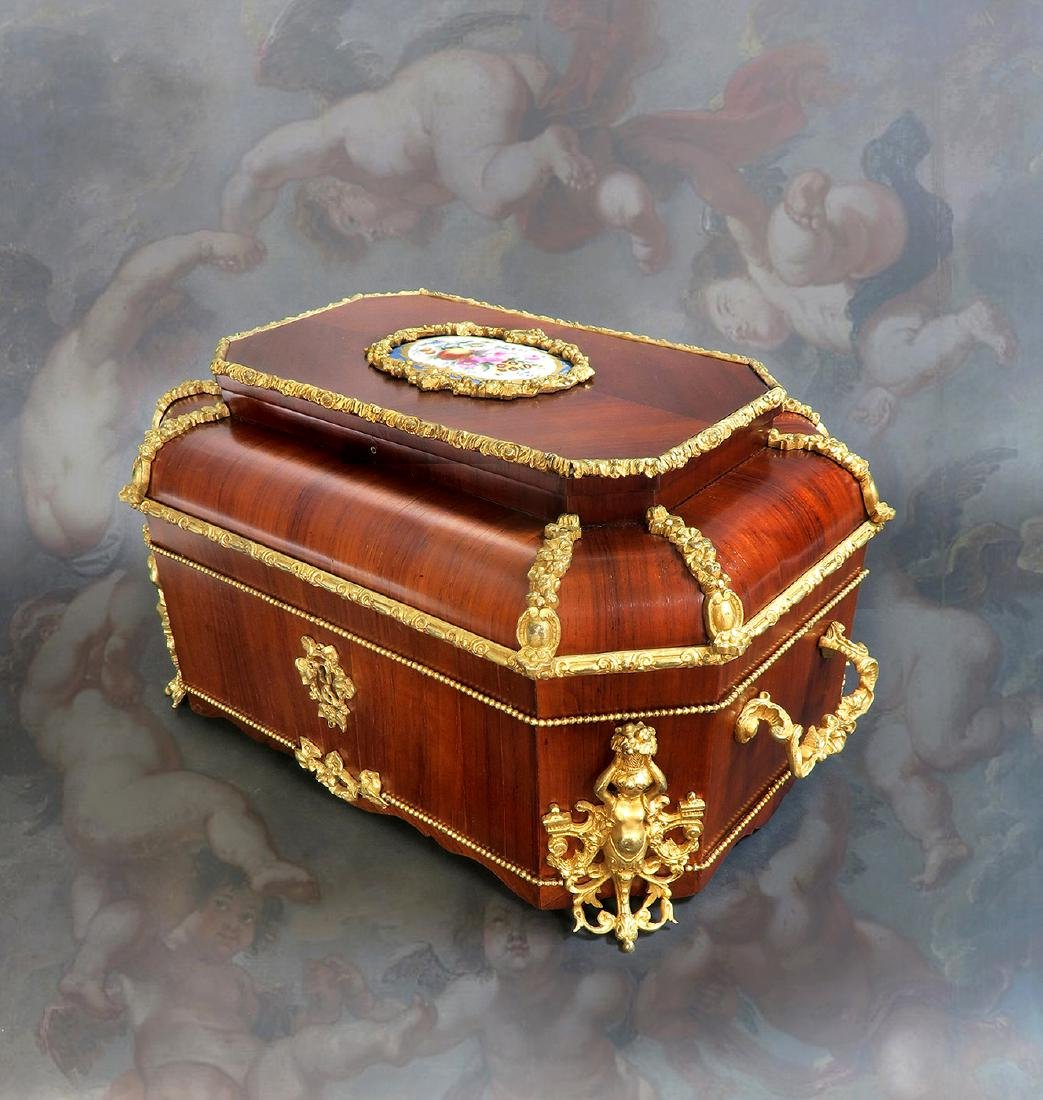 19th C. Napoleon III Tulip-wood Bronze Sevres Large Box