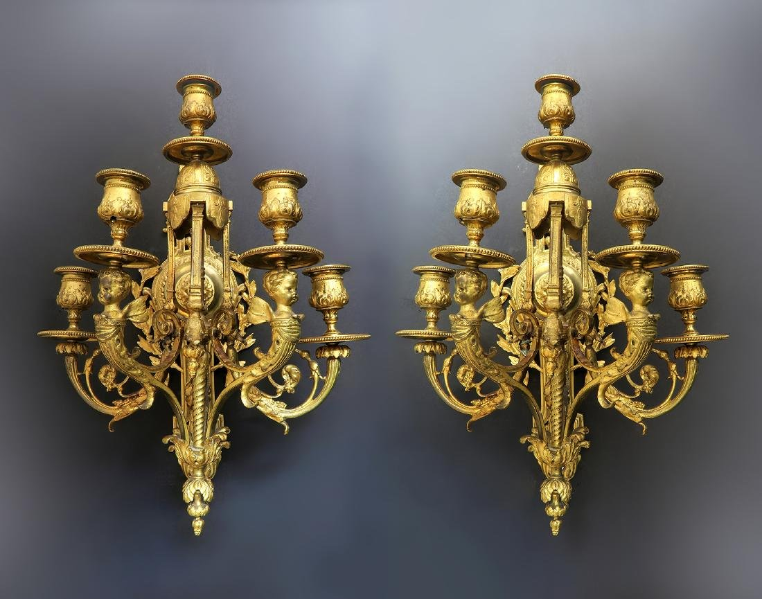 Very Fine Pair of Figural Bronze Sconces