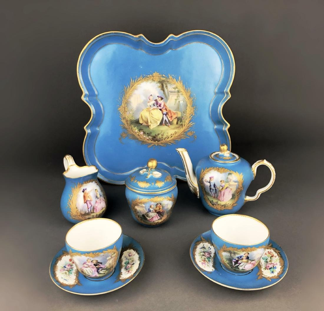 "A French Sevres Porcelain ""tete a tete"" Coffee/Tea set"