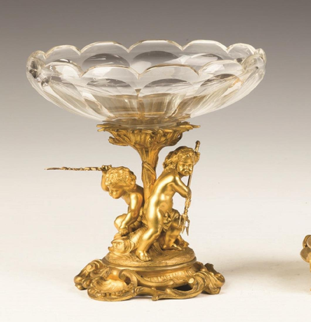 French Gilt Bronze and Cut Glass Compote