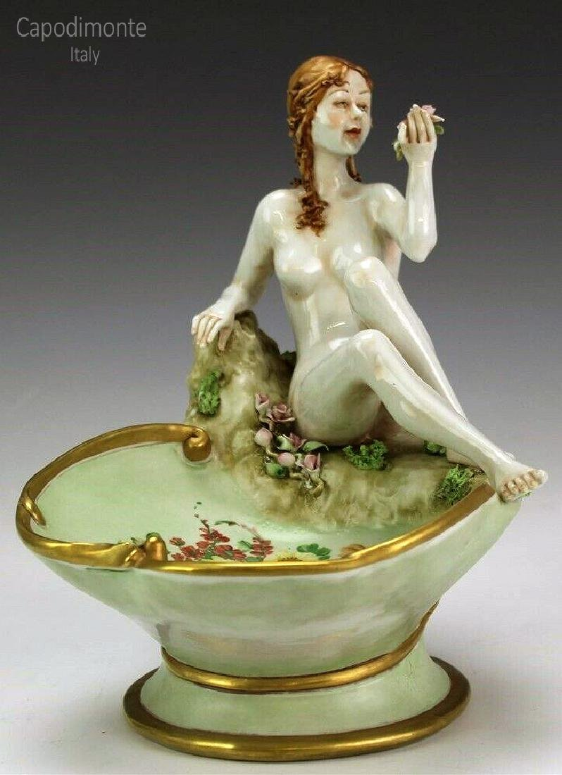 "Vintage Capodimonte ""Nude Seated Venus"" Figural Compote"
