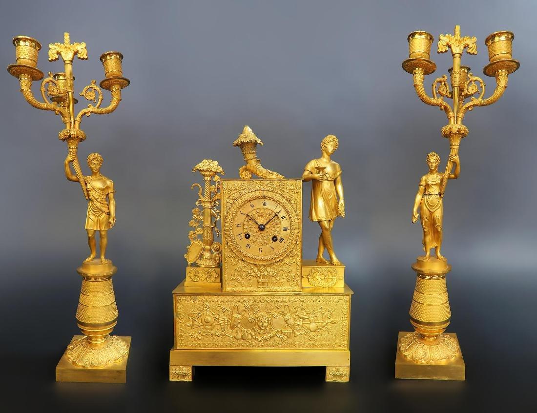 Very Fine French Empire Bronze Figural Clock set