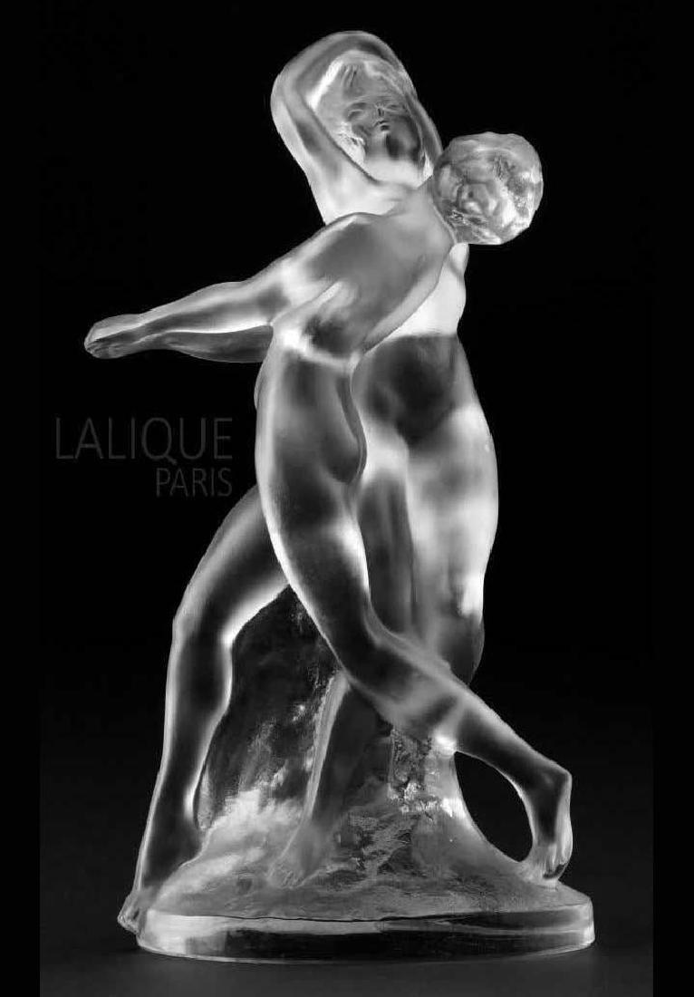 """Vintage LALIQUE Signed Deux Danseuses 10"""" Sculpture"""