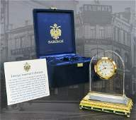 House of Faberge Crystal Guilloche Enamel Clock