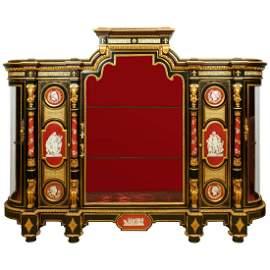 Elegant Ormolu-Mounted/KPM Exhibition Vitrine Cabinet