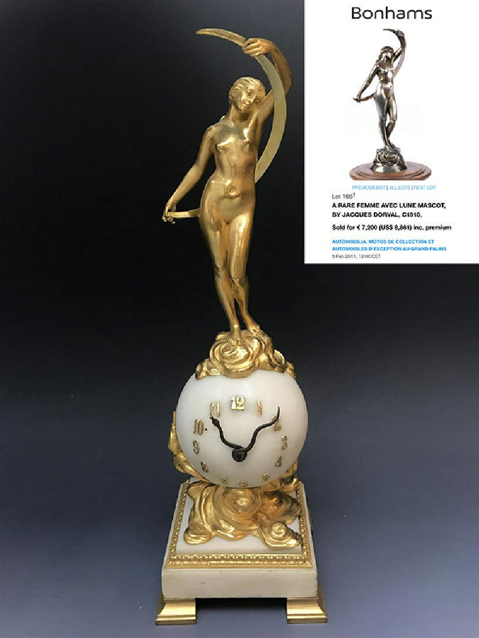 French Monumental Gilt Bronze & White Marble Clock