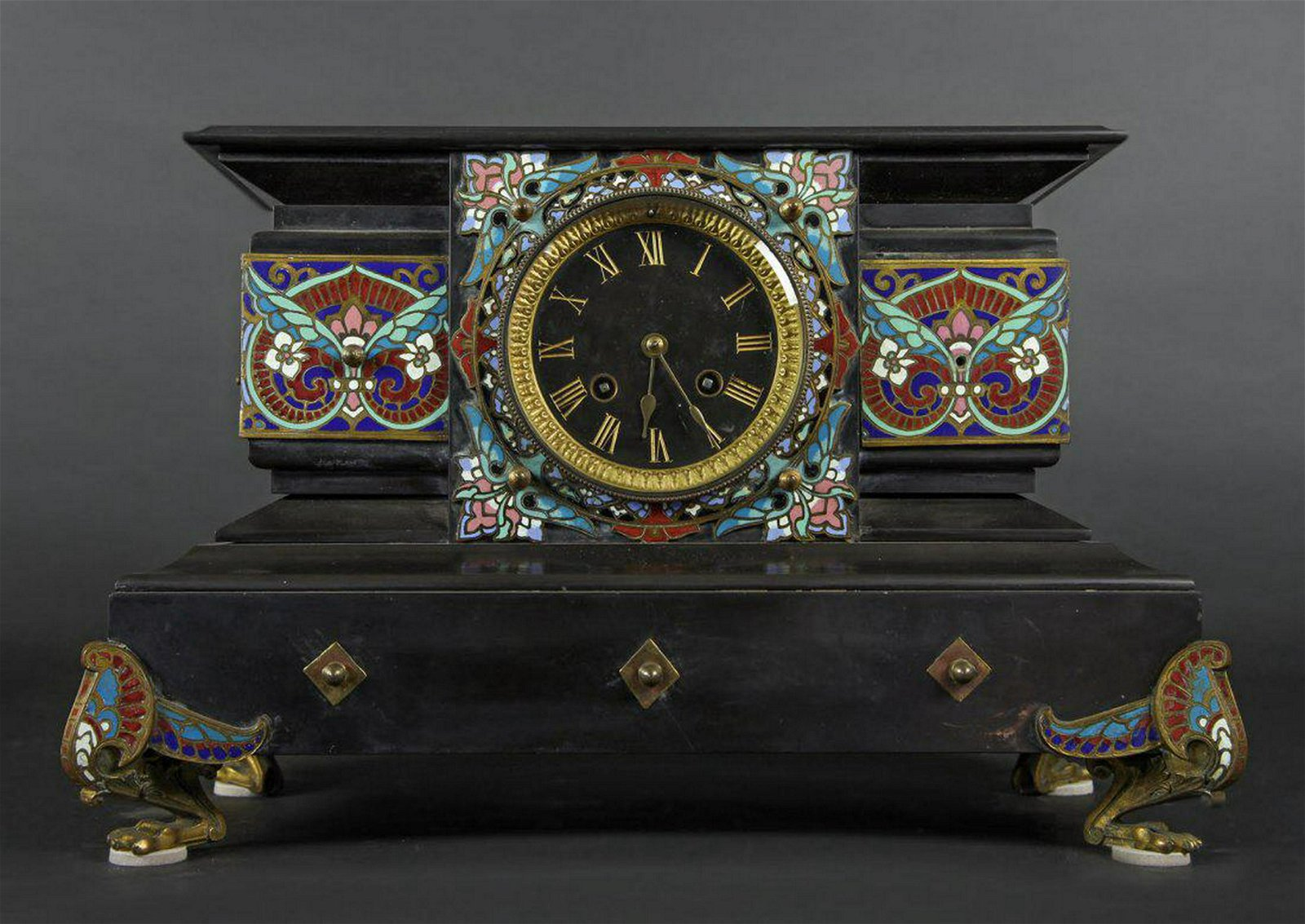 French Champleve Mounted Black Marble Clock