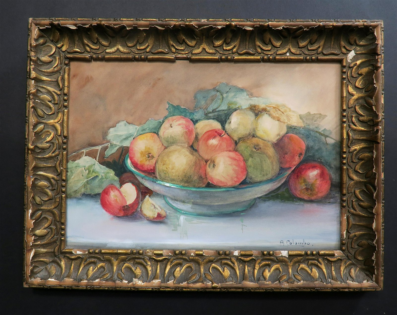 "19th C. Painting of ""Fruits"" By ""Valerie Aline Colombo"""