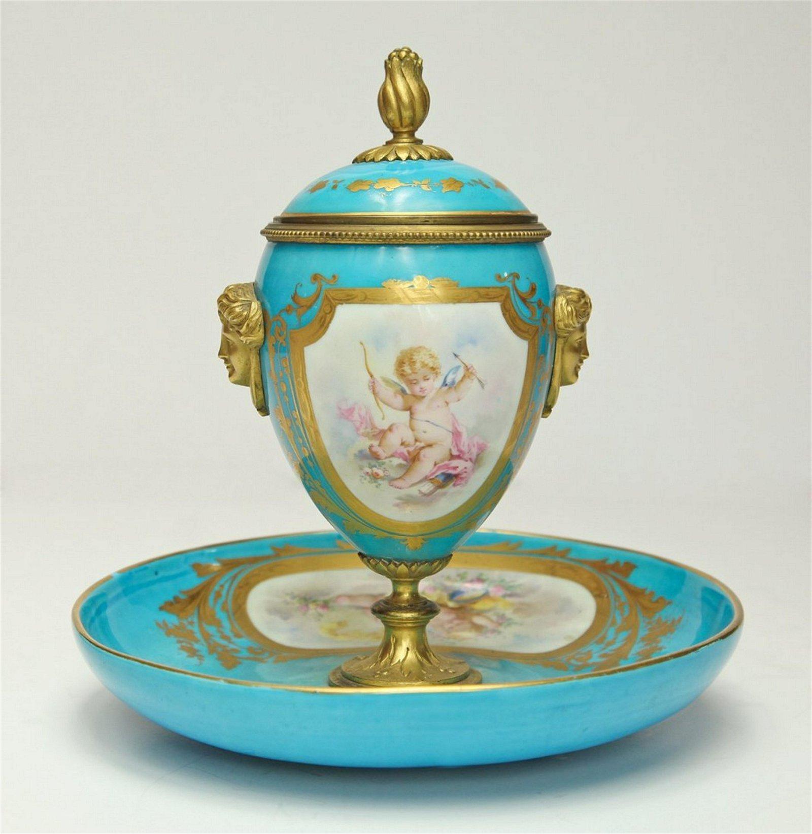 19th C. French Sevres Porcelain & Bronze Urn