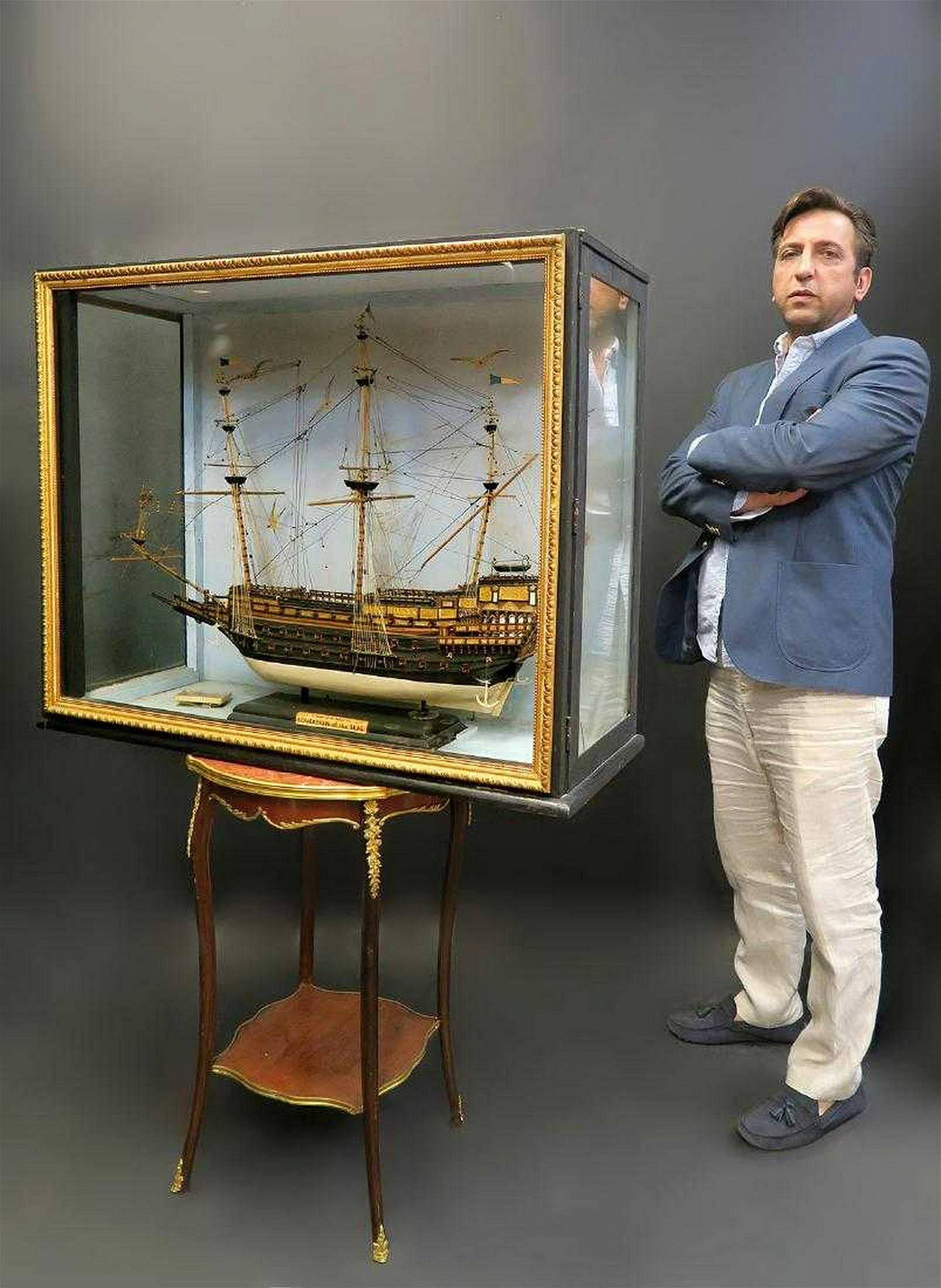 Large, Detailed Hand Made Model of a British Ship
