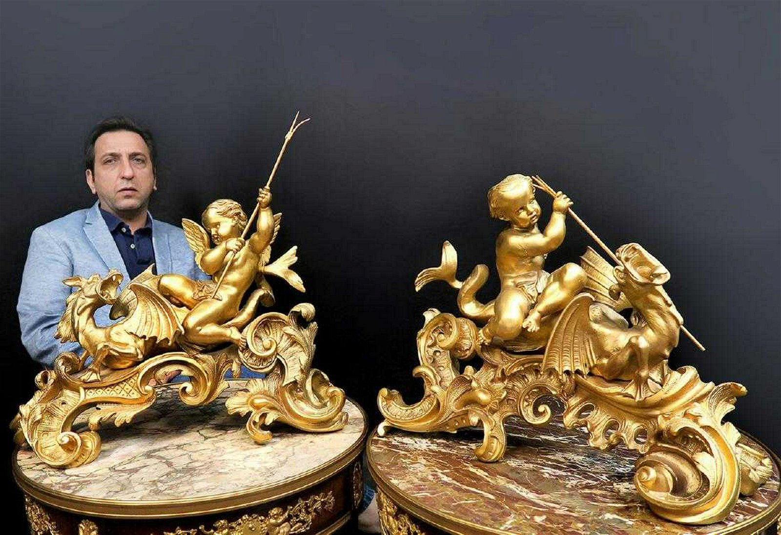 """Bronze Figural Fireplace Chenets By """"Maison Millet"""""""