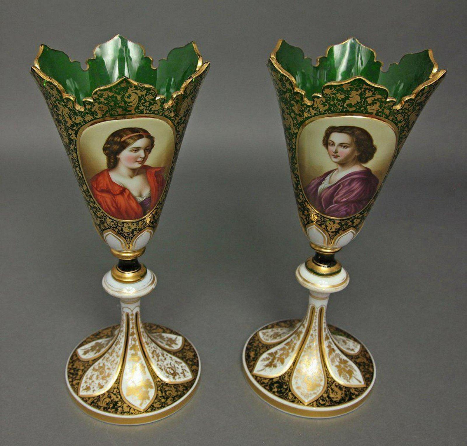 Pair of Bohemian Diamond Cut Crystal Figural Vases