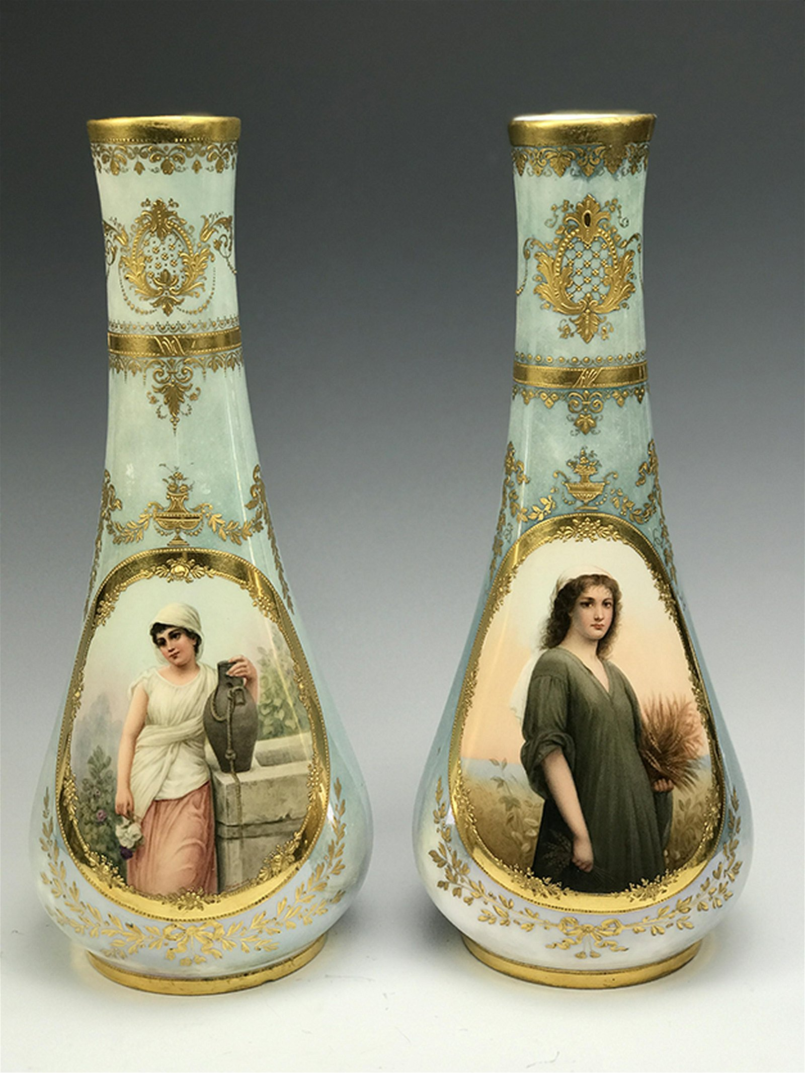 19th C. Pair of Royal Vienna Hand Painted Vases