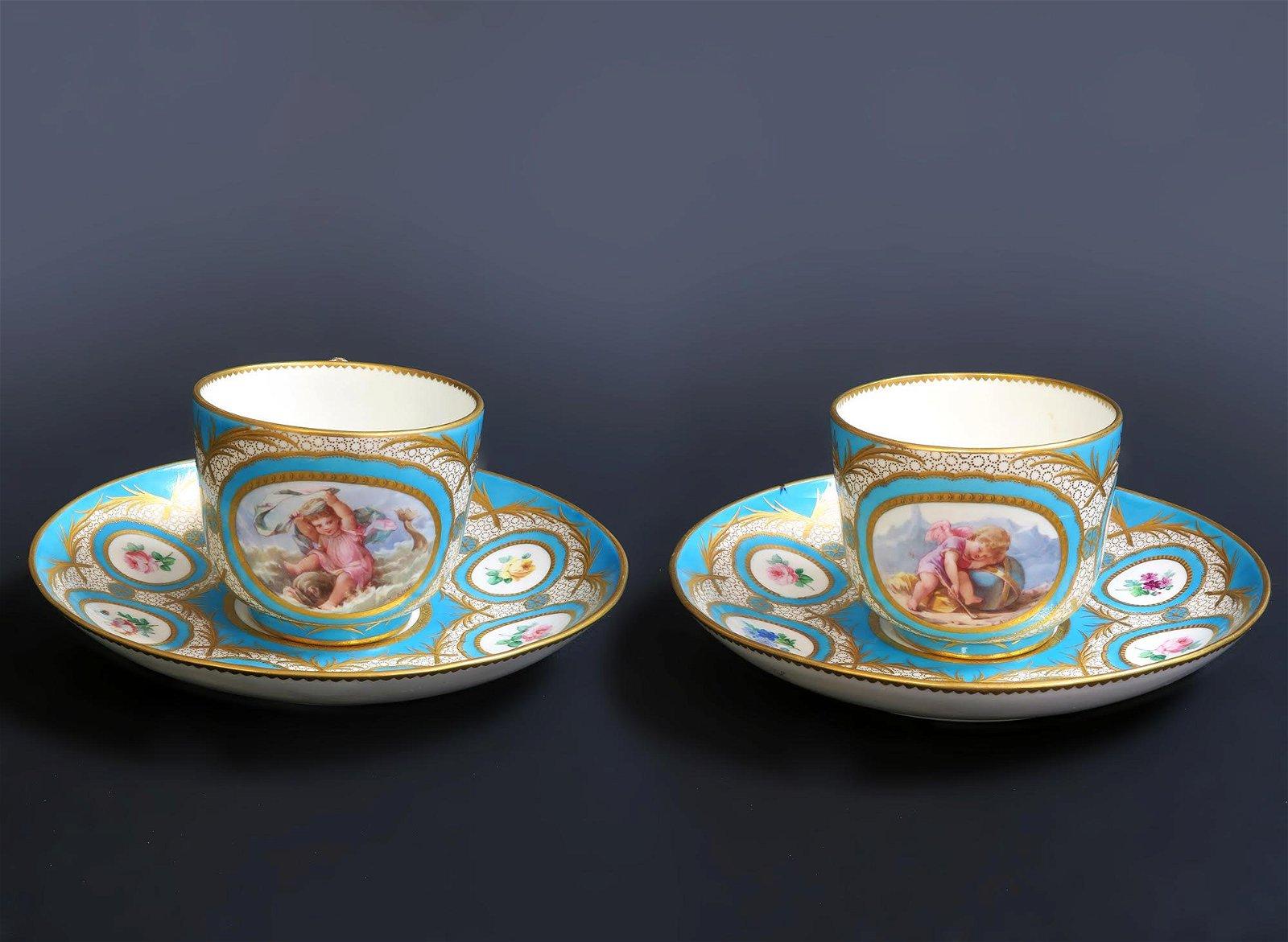 Pair of French Paris Porcelain Cup & Saucer