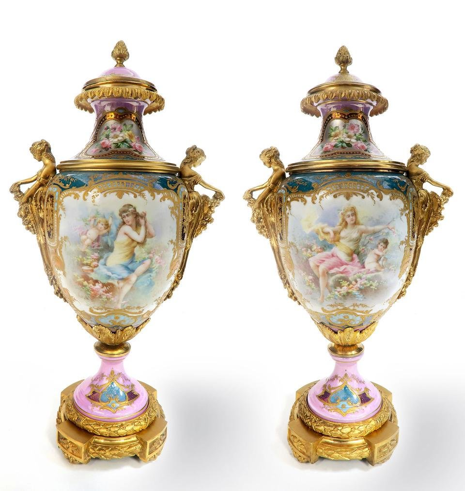 A Pair of French Figural Bronze & Sevres Vases