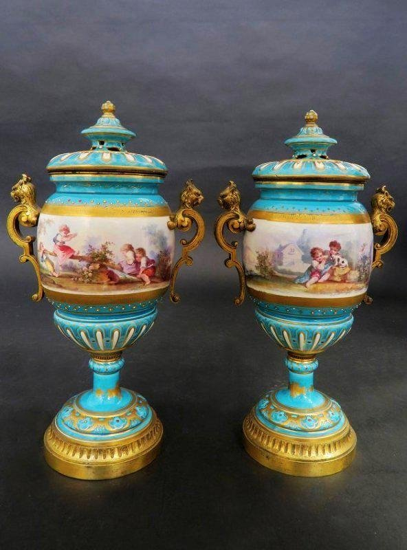 Magnificent Turquoise Blue Sevres Style Vases/Urns