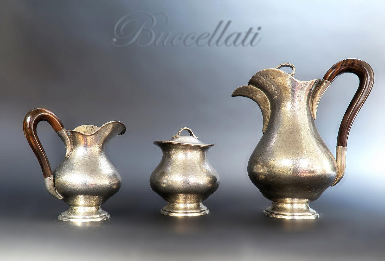 "Sterling Silver Hand Hammered ""Buccellati\"" Tea Set"