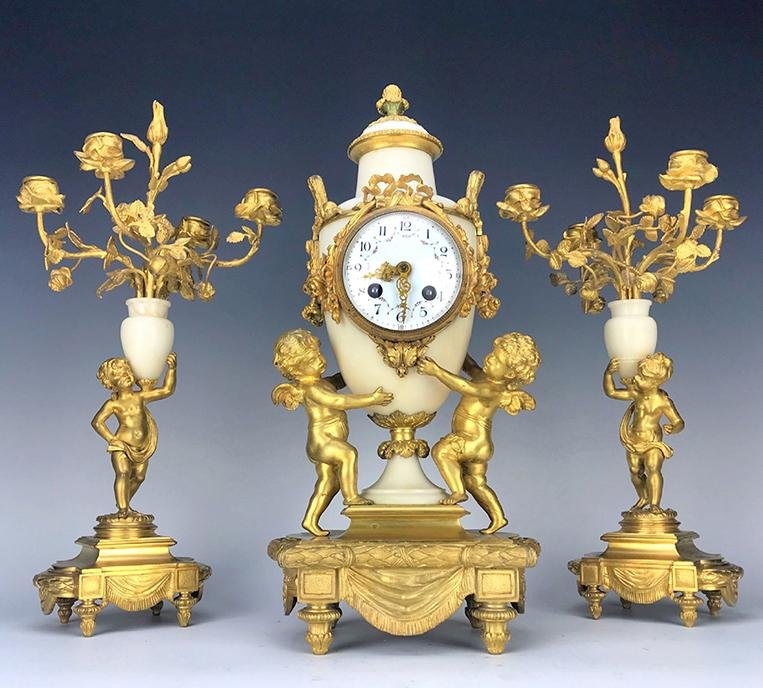 19th C. French Marble & Bronze Clock Set