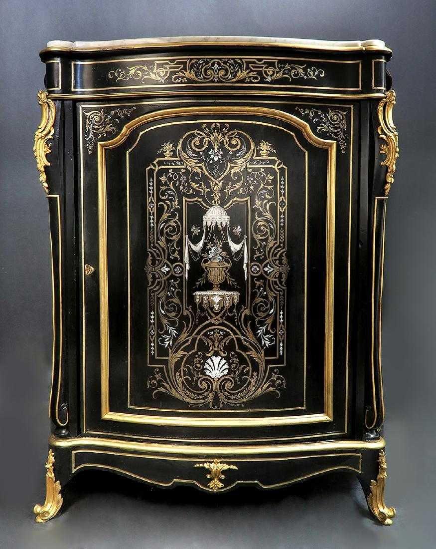 French Hand Painted Bronze Mounted Ebonized Cabinet