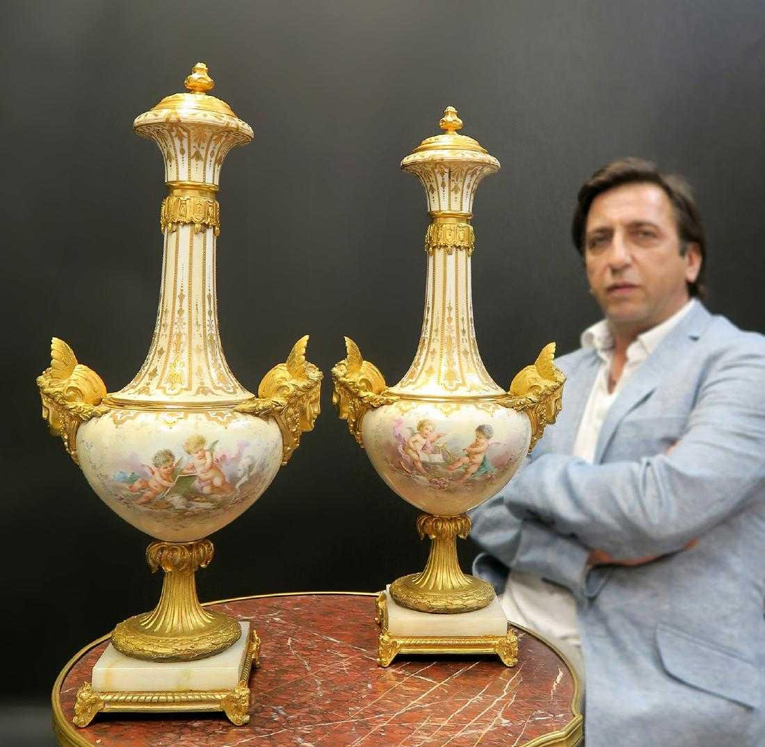 Pair of French Bronze & Sevres Urns/Vases