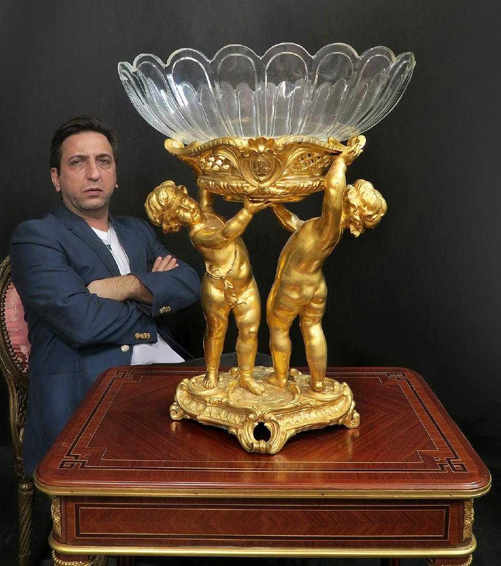Large Bronze & Baccarat Crystal Figural Centerpiece