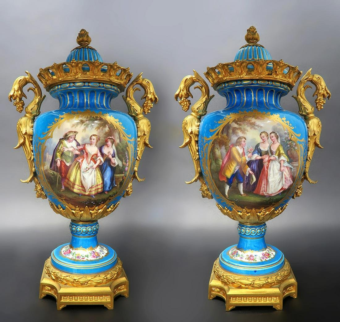 Exceptional Pair of French Sevres Vases