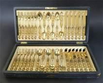 19th C. Lobmeyr/Moser Crystal & Silver Flatware Service