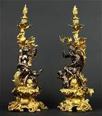 Pair of Gilt  Patinated Bronze Candle Sticks Chenets