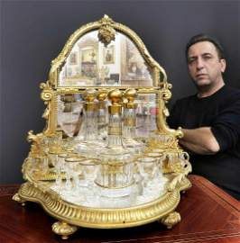 Magnificent Bronze & Baccarat Crystal Tantalus